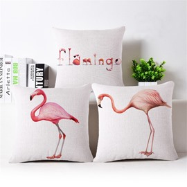 Unique Design Pink Flamingo Print Throw Pillow Case