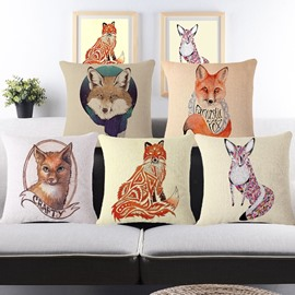 Likable Fox Print Square Throw Pillow Case