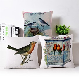 Rural Style Birds Print Throw Pillow Case