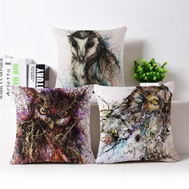 Vintage Style Owl Print Square Throw Pillow Case