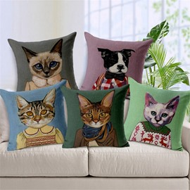 Popular Likable Kitty/Cat and Dog Print Throw Pillow Case