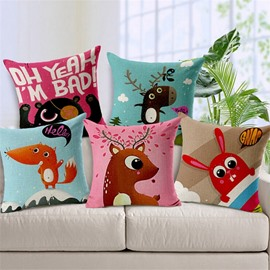 Exquisite Cartoon Animal Print Throw Pillow Case