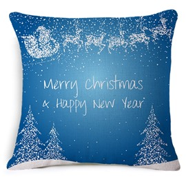 Christmas Tree and Reindeer Print Throw Pillow Case