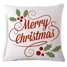 Unique Merry Christmas Reactive Printing White Throw Pillowcase
