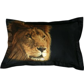 Amazing Lifelike Lion Print Polyester 2-Piece Pillow Cases