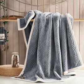 Solid Color Flannel Fleece Blanket Embossing Blanket