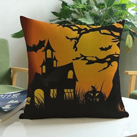 Unique Halloween Pumpkin and Castle Print Throw Pillow Case