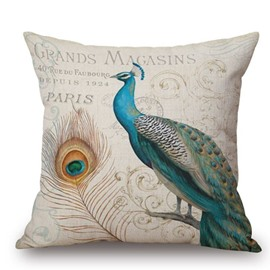 Noble Peacock Reactive Printing Square Throw Pillow Case