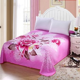 King Size Adorable Pink Peony Printed Sheet