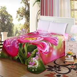 Stylish 3D Lovely Pink Tulip Printed Sheet