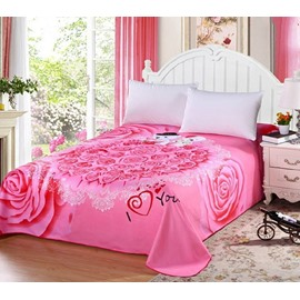 Romantic Bear Doll and Pink Rose Printed Sheet