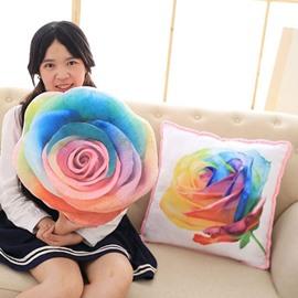 Unique Design Colorful 3D Rose Print Throw Pillow