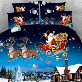 Santa Sleigh Reindeer Flying Over Winter Countryscape 2-Piece Pillow Cases
