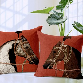 Retro Style Horse Print Decorative Throw Pillow