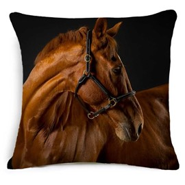 3D Brown Horse Printed Square Throw Pillowcase