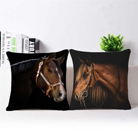Lifelike Brown Horse 3D Printed Throw Pillowcase