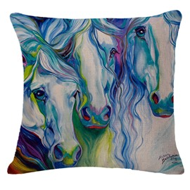 Cool Three Horses Print Decorative Throw Pillowcase