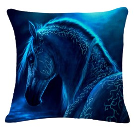 Aesthetic Blue Horse Print Square Throw Pillowcase