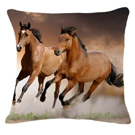 Two Running Horses 3D Printed Throw Pillowcase