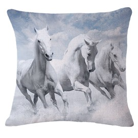 Personalized 3D Three White Horses Printed Square Throw Pillowcase