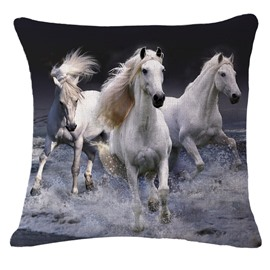 Photographic 3D Three White Horses Printed Throw Pillowcase