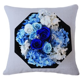 Bright Blue Roses Print Decorative Throw Pillow
