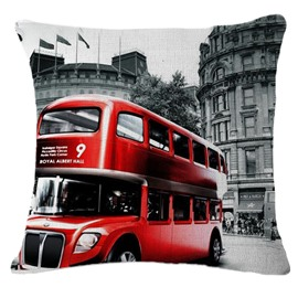 Red London Bus Print Square Throw Pillow