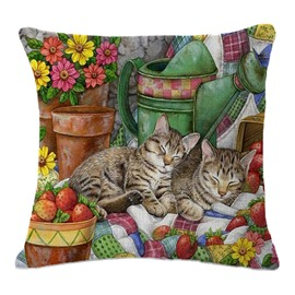 Super Cute Brother Cats/Kittens Asleep Print Throw Pillow
