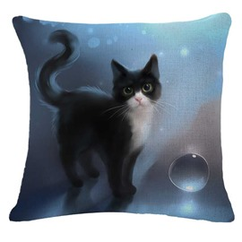 Dreamy Black and White Kitty/Cat Print Throw Pillow