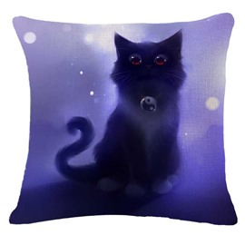 Halloween Black Kitty/Cat Print Square Throw Pillow
