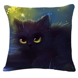 Fluffy Halloween Chat Print Square Throw Pillow