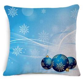 Likable Christmas Decoration Print Blue Throw Pillowcase