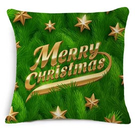 Personalized Typography Merry Christmas Print Green Throw Pillowcase