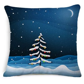 Christmas Tree in Moonlight Print Blue Throw Pillowcase