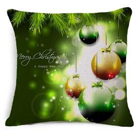 Shining Christmas Ornament Ball Print Green Throw Pillowcase