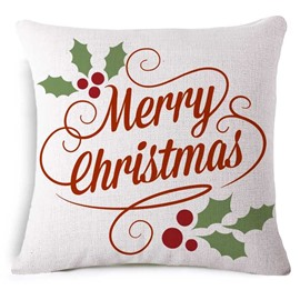Traditional Merry Christmas Print White Throw Pillow