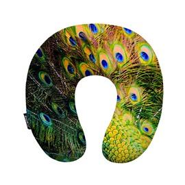 Lifelike Peacock Feather Print U-Shape Memory Foam Neck Pillow