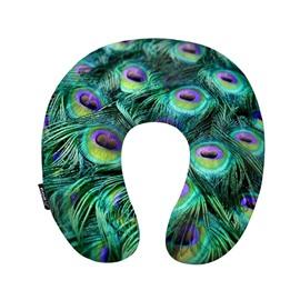 Fancy Peacock Feather Print U-Shape Memory Foam Neck Pillow