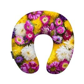 Likable 3D Floral Print U-Shape Memory Foam Neck Pillow