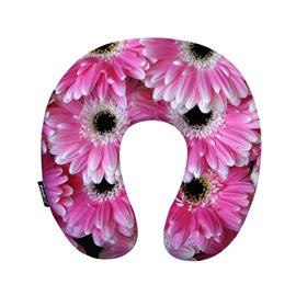 Pretty Pink 3D Daisy Print U-Shape Memory Foam Neck Pillow