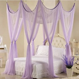 Noble Eight Corner Purple Polyester Bed Canopy