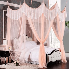 Elegant Lace Embellishment Polyester Eight-point Bed Canopy