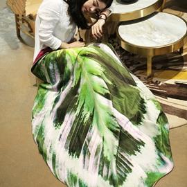 Reversible Lifelike 3D Leaf Design Coral Blanket