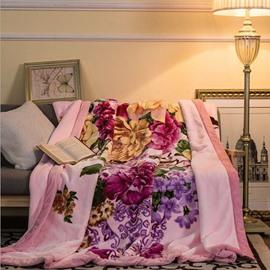 Charming Colorful Peonies Print Pink Raschel Blanket