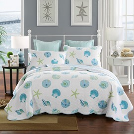Conch and Starfish Print White Cotton 3-Piece Bed in a Bag