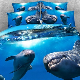 Cute 3D Dolphin Printed Cotton 2-Piece Pillow Cases
