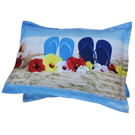 Beach and Sea Scenery Print 2-Piece Pillow Cases