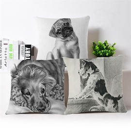 Lovely Sketch Puppy Design Square Throw Pillowcase