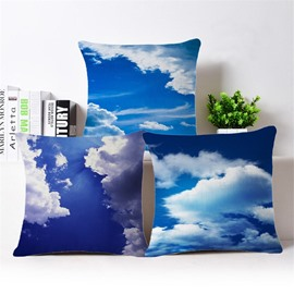 Beautiful Azure Blue Sky and White Cloud Print Throw Pillowcase