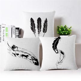 Stunning Feather Print PP Cotton Square Throw Pillowcase